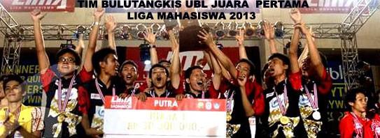 Tim UBL Juara Pertama Liga Mahasiswa Badminton 2013