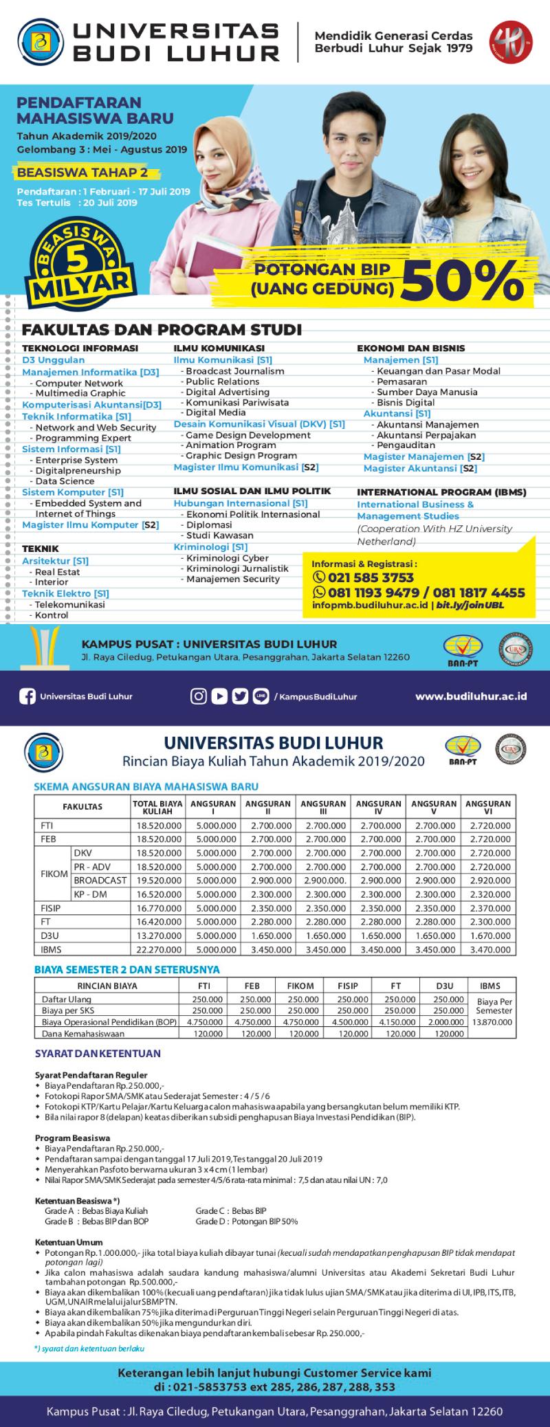 Download Rincian Biaya Pendaftaran Masuk Universitas Budi Luhur2019/2020