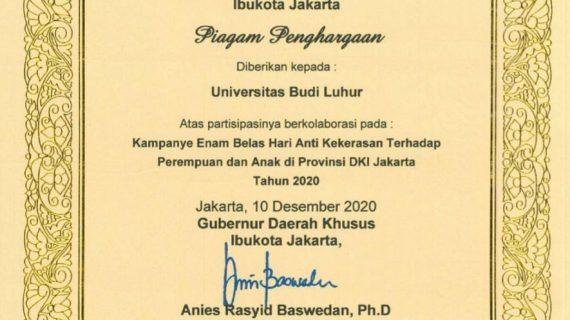 Penghargaan Untuk Universitas Budi Luhur Atas Partisipasinya Dalam Kampanye 16 Hari Anti Kekerasan Terhadap Perempuan dan Anak Provinsi DKI Jakarta